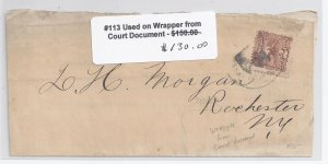 US Scott #113 used on cover