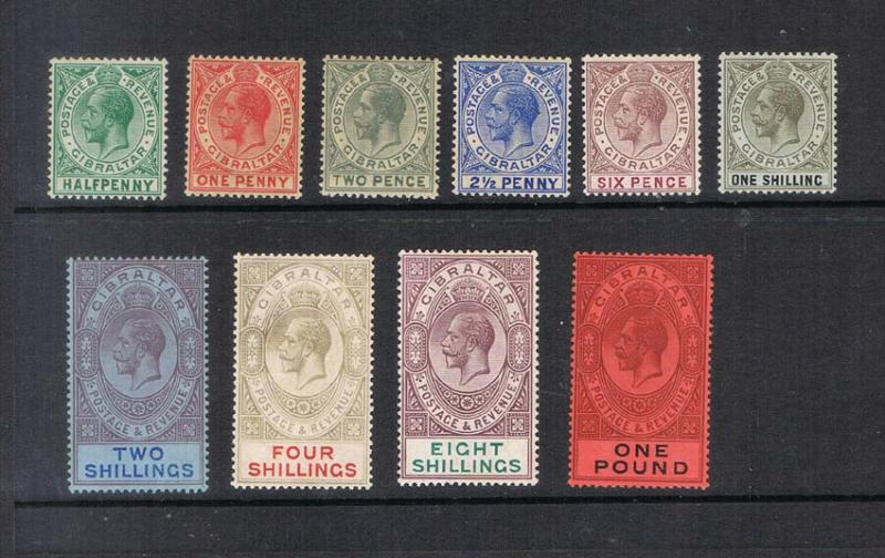 Gibraltar 19212 KGV SG 76-85 set of 10 MH - Scarce