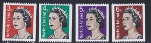 Norfolk Island # 116-118A, Queen Elizabeth Coil Stamps, NH, 1/2 Cat.