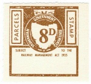 (I.B) Australia - Tasmania Railways : Parcels Stamp 8d