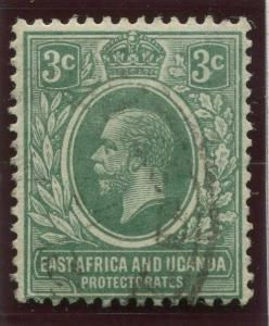 East Africa & Uganda - Scott 41- KGV Definitive -1912 - FU- Single 3c Stamp