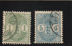 Danish West Indies  Scott#  21-2  Used