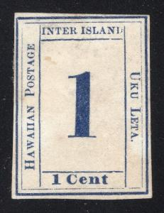 Hawaii 1 Cent - Dark Blue - Wove Paper - Inverted Impression in Black on Back