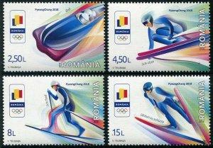 HERRICKSTAMP NEW ISSUES ROMANIA Sc.# 6061-64 PyeongChang 2018 Olympics