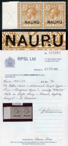 NAURU SG9/9a 5d yellow-brown Variety NAUPU Superb M/Mint VERY RARE RPS Cert