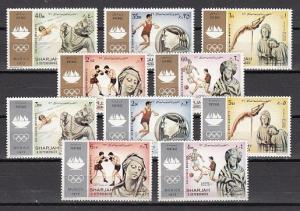 Sharjah, Mi cat. 839-848 A. Summer Olympics issue. Sculptures shown.
