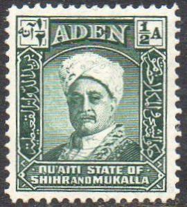 Aden (Quaiti State of Shihr and Mukalla) 1942 ½a Sultan MH