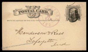 USA 1879 1c Postal Stationery Frankfort Indiana Large Violet Cancel 95618