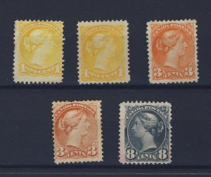 5x Canada MNG Small Queen Stamps 2x #35-1c #37-3c #41-3c #44-8c GV= $260.00