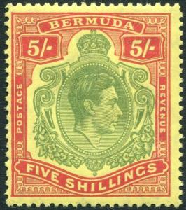 BERMUDA-1950 5/- Yellow-Green & Red/Pale Yellow Perf 13 Sg 118f  MOUNTED MINT