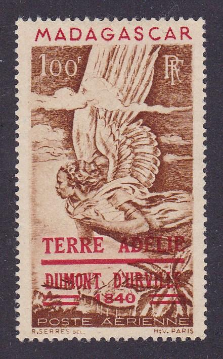 Madagascar 1948 Iconic Airmail Alligory Angel Overprinted French Adelle Land NH