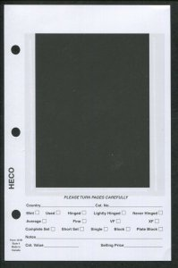 Pack of 100 HECO Dealer Stock Card Pages #4 for 3-Ring Mini Binder 5.5 x 8.5