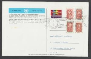 UN Sc 170-174 used on Expo '67 Souvenir Folder mailed from Montreal, Canada