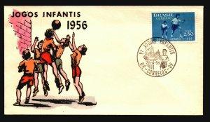 Brazil 1956 Jogos Infantis FDC / Painted Cachet / UA - L3628