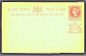 EAST INDIA Post Card  Black FARIDKOT State & Crest Overprint ¼ Anna MNH