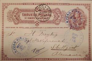O) 1908 COSTA RICA, JUAN VIÑAS, COLON 4c, POSTAL STATIONERY CIRCULATED