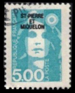 ST. PIERRE & MIQUELON 1990 5fr #543 FRANCE OVPTD ST. PIERRE ET MIQUELON
