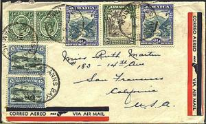 JAMAICA 1938 airmail cover ST ANNS BAY to USA - nice franking