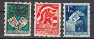 J29502, 1950 austria set mh #b269-71 designs $120.00 scv