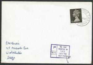 GB 1968 cover CARDIFF - CREWE TPO cds  and TPO Late Fee tax mark...........50332