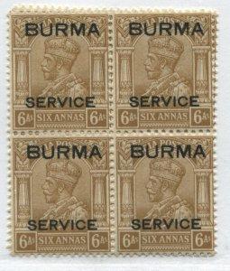Burma KGV 1937 6 annas Official 2 blocks of 4 mint o.g. hinged