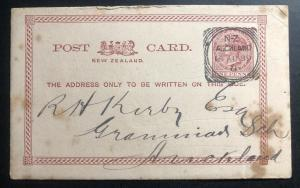 1889 Auckland New Zealand Postal Stationary Cover Civil Service Domestic Used