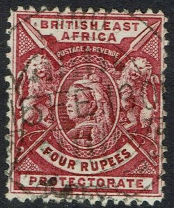 BRITISH EAST AFRICA 1896 QV LIONS 4R USED