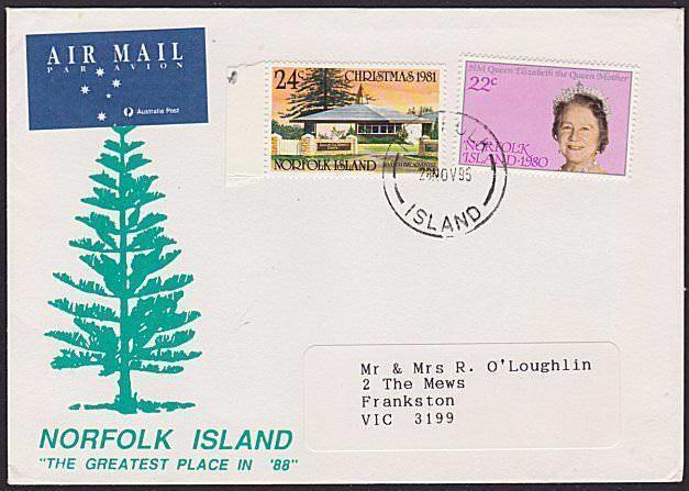 NORFOLK IS 1995 cover to Australia..........................................6507