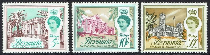 BERMUDA 1962 QEII PICTORIAL 5/- 10/- AND 1 POUND MNH ** TOP 3 VALUES