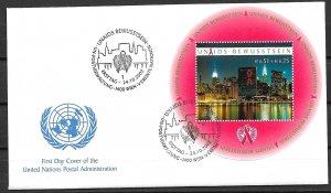 2002 UN Vienna B1 Aids Awareness S/S FDC