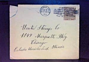 Chile 1914 10c Postal Stationary Cover to USA - Z895