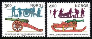 Norway 858-859, MNH. Norwegian Artillery,Artillery Officers Training School,1985