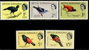 BRITISH HONDURAS Sc#167-169, 171, 173 1962 QEII Defins Part Set OG Mint Hinged