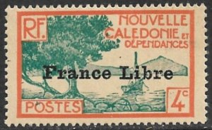 NEW CALEDONIA 1941 4c Scenic View Overprinted FRANCE LIBRE Sc 220 MH