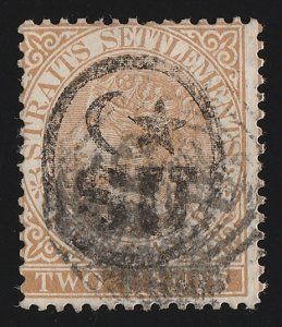MALAYA - SUNGEI UJONG : 1878 'Crescent & Star SU' on Straits QV 2c. RARE NO 1.