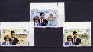 Anguilla 1981  Charles & Diana set (3) MNH  Sc # 444-446
