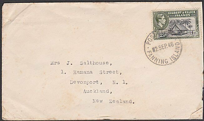 GILBERT & ELLICE IS 1946 GVI 2½d on cover - POST OFFICE / FANNING ISLAND....N666