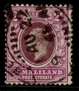 SOMALILAND PROTECTORATE GV SG62a, 2a purple & violet-purple, FINE USED. Cat £50.