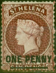 St Helena 1876 1d Lake SG21 Fine Mtd Mint