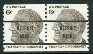 US SCOTT #1305b Used Line Pair Precancel O.G. SCV $675 LH On 1 Stamp