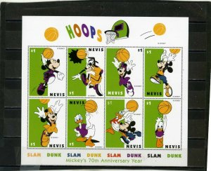 NEVIS 1998 DISNEY MICKEY'S 70th ANNIVERSARY YEAR SHEET OF 8 STAMPS MNH