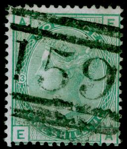 SG150, 1s green plate 13, USED. Cat £150. EA