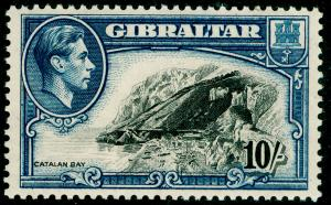 GIBRALTAR SG130a, 10s black & blue PERF 13, UNMOUNTED MINT. Cat £42.
