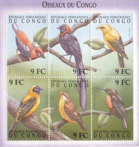 Zaire # 1534-1535, Birds, Sheets of 6, NH, 1/2 Cat,