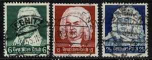 GERMANY 1935 MUSICIANS ANNIVERSARY SET USED SG 570-72 P.14  Wmk.97 XF/SUPERB