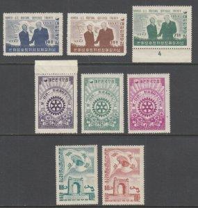 Korea Sc 206-208 MNH, 213-215 VLH, 218-219 MNH, 1954-55 issues, 3 sets gum bends