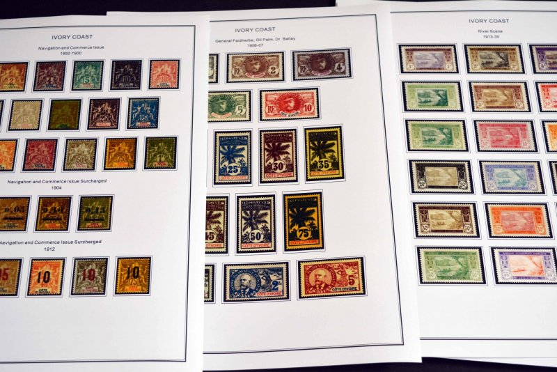 COLOR PRINTED FRENCH COLONIES [x13] 1859-1947 STAMP ALBUM PAGES (141 ill. pages)