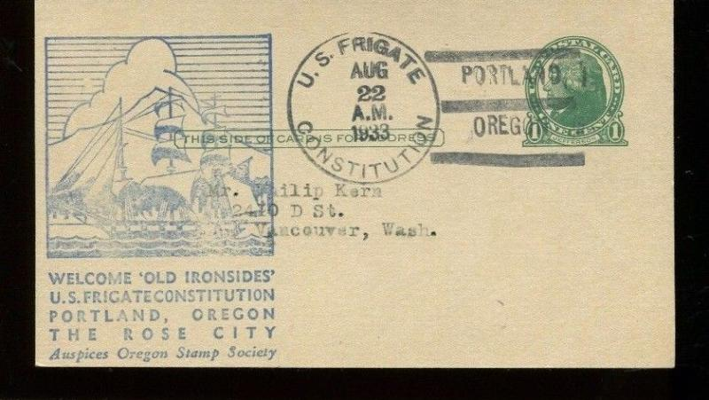 POSTAL STATIONARY Portland 1933 US Frigate Constitution Old Ironside Cachet 8508