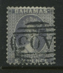 Bahamas QV 1862 6d gray perf 12 SUPERB used
