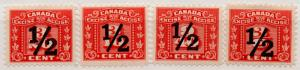 (I.B) Canada Revenue : Excise Duty ½c Overprints Collection